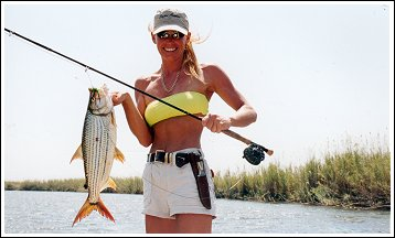 Cindy Garrison with Tiger Fish Botswana, Africa
