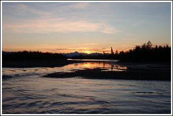 Fly Fishing Guides Flies Fishermen Gear Alaska Sunset 8-2011